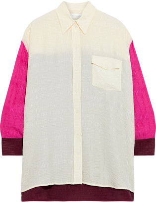 Victoria Beckham Oversized Color-block Cloque Shirt