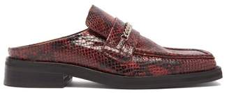 Martine Rose Python-embossed Leather Backless Loafers - Womens - Red Multi