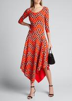 Chiara Boni Geometric Scoop-Neck 3/4-Sleeve Asymmetrical Dress