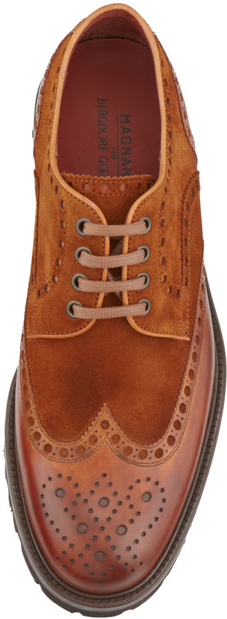 Bergdorf Goodman Hand-Antiqued Suede/Leather Lug-Sole Lace-Up