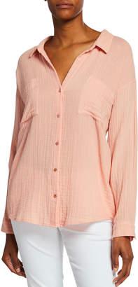 Eileen Fisher Plus Size Button-Down Long-Sleeve Organic Cotton Gauze Shirt