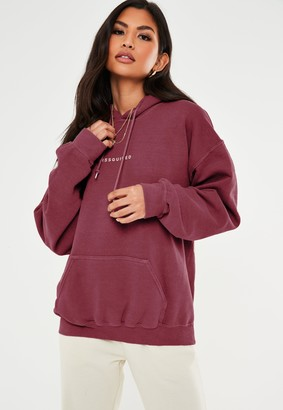 Missguided Burgundy Drawstring Washed Oversized Hoodie
