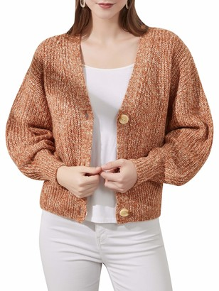 Woolicity Womens Cardigans Button Down Sweater Long Sleeve Oversized V Neck Knit Cardigan Casual Outwear Fall