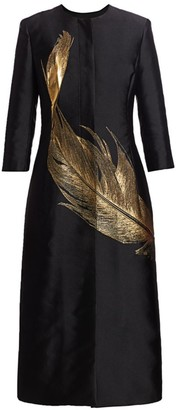 Oscar de la Renta Metallic Feather Silk-Blend Collarless Jacket