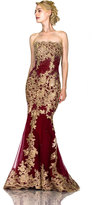 Unique Vintage Burgundy Red Sexy Strapless Embellished Long Gown