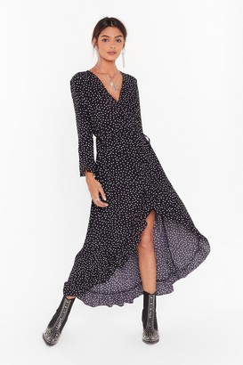 Nasty Gal Womens It's Dot Your Fault Wrap Midi Dress - Black - 4, Black