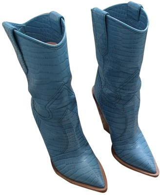 Fendi Cowboy Blue Exotic leathers Boots