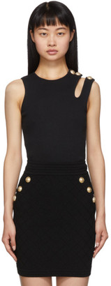 Balmain Black Asymmetric 3-Button Tank Top