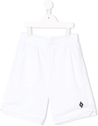 Marcelo Burlon County of Milan Kids embroidered logo mesh shorts