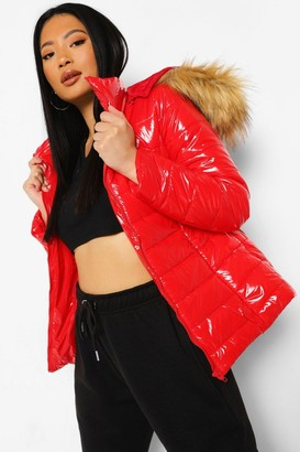 boohoo Petite High Shine Faux Fur Trim Hooded Coat