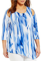 Peter Nygard Plus Cold-Shoulder Printed Tunic