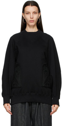 Mame Kurogouchi Black Embroidered Oversized Sweatshirt