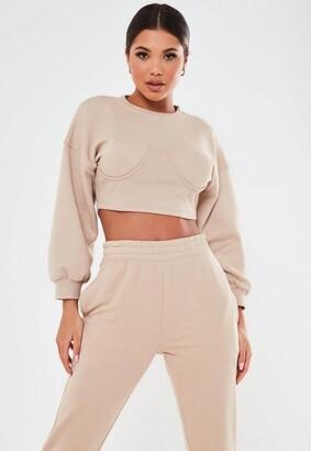 Missguided Petite Pink Corset Sweatshirt