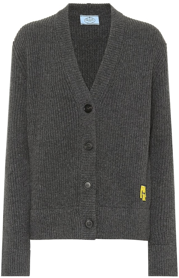 Prada Ribbed wool and cashmere cardigan