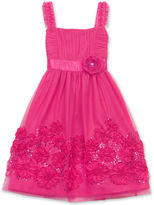 Rare Editions Girls Dress, Girls Soutache-Border Sequin Dress