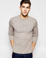 Asos Cable Knit Jumper In Brown