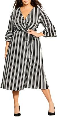 City Chic Stripe Out Faux Wrap Midi Dress