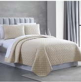 Modern Threads Queen Enzyme Washed Diamond Link Quilted Coverlet 3-Piece Set - Almond