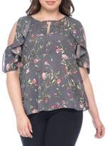 Bobeau Plus Pamela Floral Cold-Shoulder Blouse