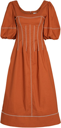 Jonathan Simkhai Lena Puff Sleeve Midi Dress