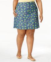 Karen Scott Plus Size Lemon-Print Chambray Skort, Created for Macy's