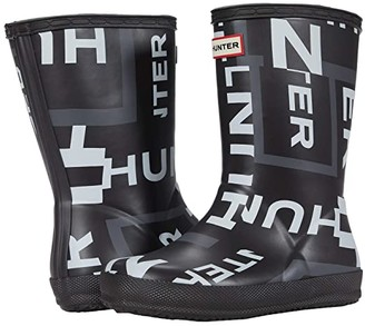Hunter First Classic Exploded Logo Boots (Toddler/Little Kid) (Onyx Exploded Logo) Kid's Shoes