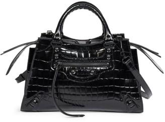Balenciaga Small Neo Classic City Croc-Embossed Leather Bag