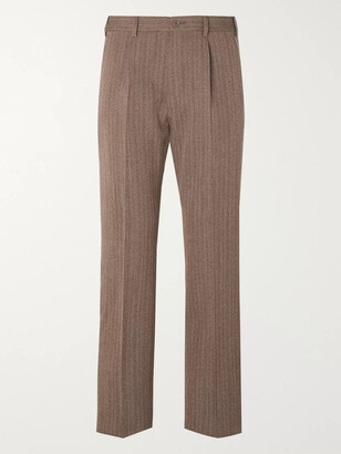 Gucci Cropped Pleated Striped Wool-Blend Trousers