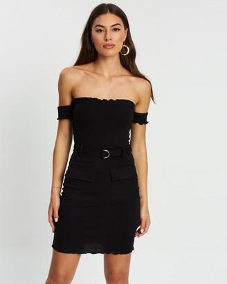 Missguided Lettuce Edge Belted Bardot Mini Dress