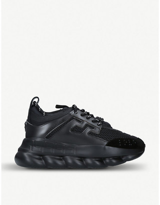Versace Chain Reaction leather and mesh trainers