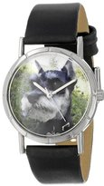 Whimsical Watches Kids' R0130066 Classic Schnauzer Black Leather And Silvertone Photo Watch