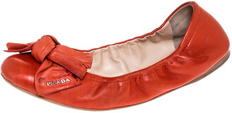 Prada Red Leather Bow Logo Scrunch Ballet Flats Size 40.5