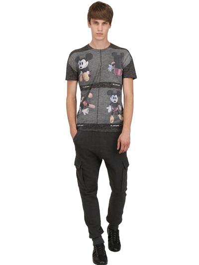 Dolce & Gabbana Mickey Mouse Wool/Linen Jersey T-Shirt