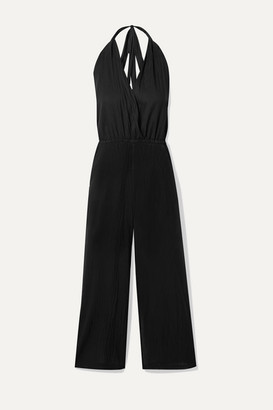 Skin Bardot Wrap-effect Cotton-voile Halterneck Jumpsuit - Black