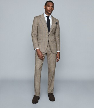 Reiss Oscar - Slim Fit Checked Trousers in Grey
