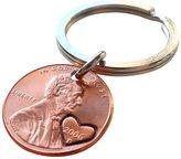 JewelryEveryday 2006 Penny Keychain with Hand Stamped Heart Around Year 11 Year Anniversary Gift