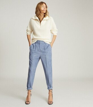 Reiss Thea - Pleat Front Corduroy Trousers in Blue