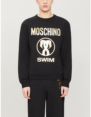 Moschino Flamingo-print stretch-cotton jumper