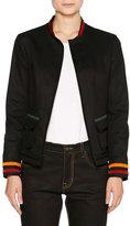 Tomas Maier Denim Varsity Jacket w/Stripe Trim, Navy