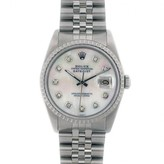 MOP excellent (EX) Rolex Mans Datejust Stainless Steel Mother of Pearl Diamond Dial Model 16030