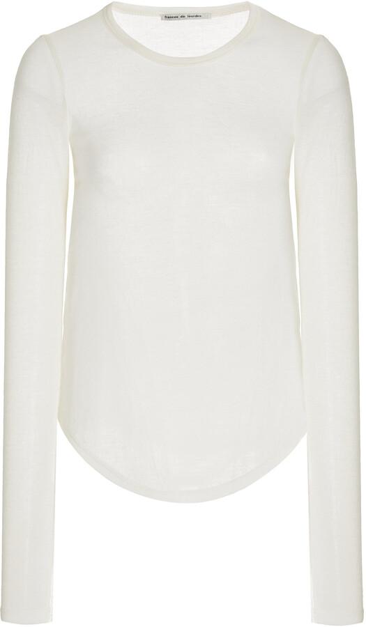 FRANCES DE LOURDES Women's Romy Long Sleeve Slim Tee - White/black - Moda Operandi