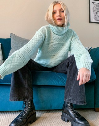 Pieces textured jumper with roll neck in pastel green