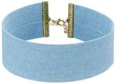 Steve Madden Blue Thick Denim Choker Necklace Necklace