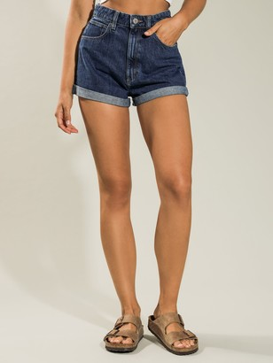 A Brand High-Waisted Relaxed Short in Denim