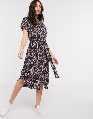 Monki Lexi printed tie waist midi shirt dress in black and coral