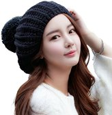 Siggi Womens Cable Wool Knit Slouch Pom French Beret Hats Black Winter Packable