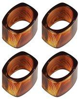 InterDesign Tor Trois Napkin Ring, Brown, Set of 4