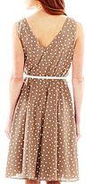 JCPenney 9 & Co.® Belted V-Neck Polka Dot Dress