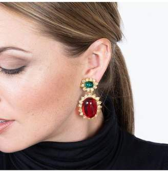 Kenneth Jay Lane Emerald And Ruby Drop Clip Earrings