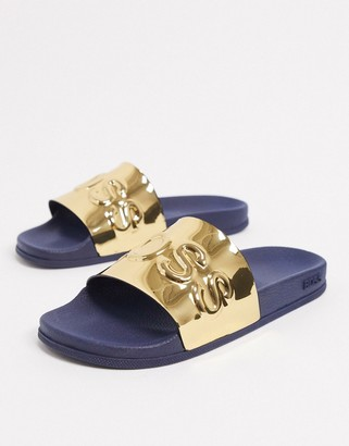 HUGO BOSS Bay sliders in gold/ navy